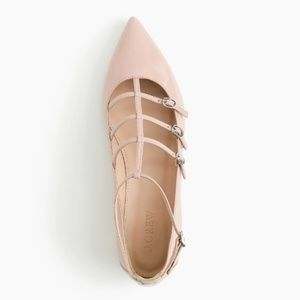 J. Crew Caged Flats in Blush Pink Glossy Leather